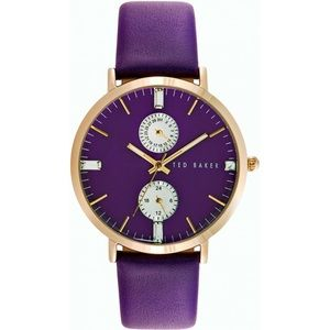 TED BAKER Purple & Gold Leather watch TE10024714